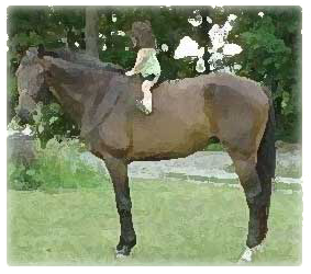 Meagan as a young girl riding horse called Moose